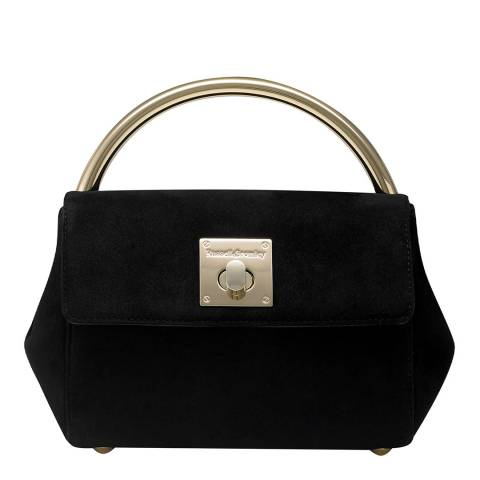 Russell & Bromley Black Suede Goldy Gold Handle Mini Bag