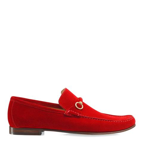 Russell & Bromley Red Misty Snaffle Trimmed Loafer