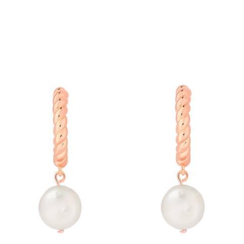 Astrid & Miyu Rose Gold Rope & Pearl Pendant Hoops