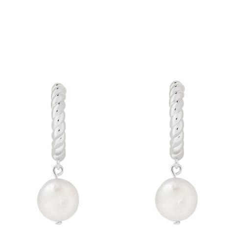 Astrid & Miyu Silver Rope & Pearl Pendant Hoops