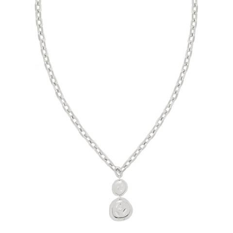 Astrid & Miyu Silver Coin Pendant Chunky Necklace