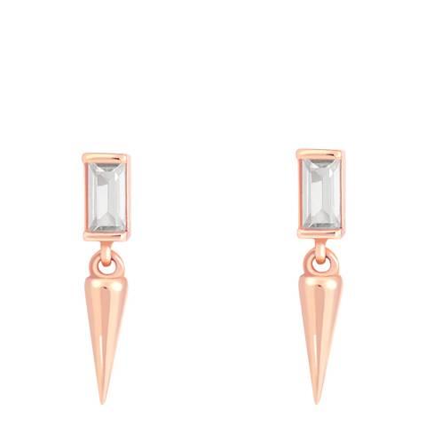 Astrid & Miyu Rose Gold Mystic Baguette Spike Drop Stud Earrings