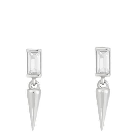 Astrid & Miyu Silver Mystic Baguette Spike Drop Stud Earrings
