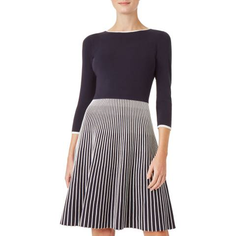 Hobbs London Navy Naomi Knitted Dress