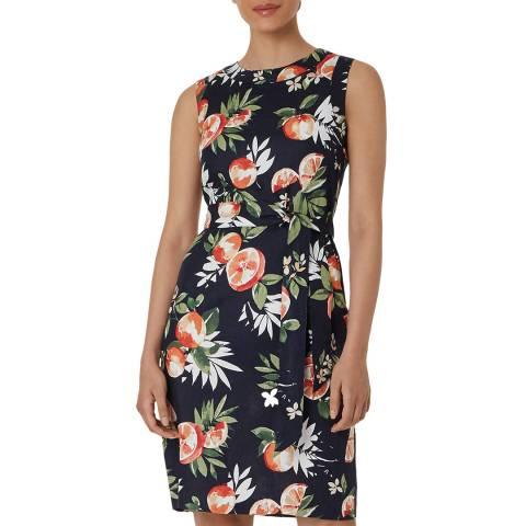 Hobbs London Navy Print Amalfi Linen Dress
