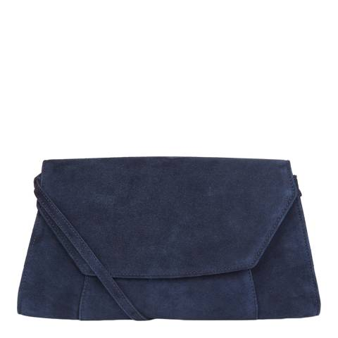 Hobbs London Navy Cartmel Suede Clutch Bag