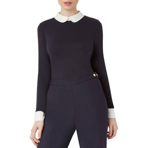 Hobbs London Navy Cuff Sasha Top