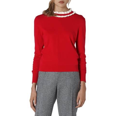 L K Bennett Red Anabelle Wool Ruffled Jumper