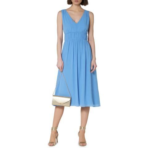 L K Bennett Blue Greca Silk V Neck Dress