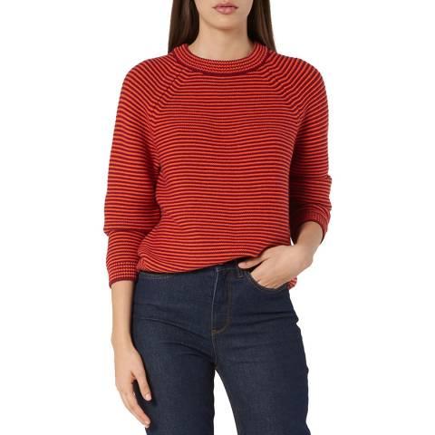 L K Bennett Red Striped Wool Blend Samara Jumper