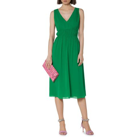 L K Bennett Green Greca Silk V Neck Dress