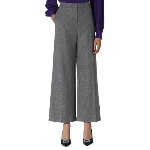 L K Bennett Grey Frances Wool Wide Leg Trousers