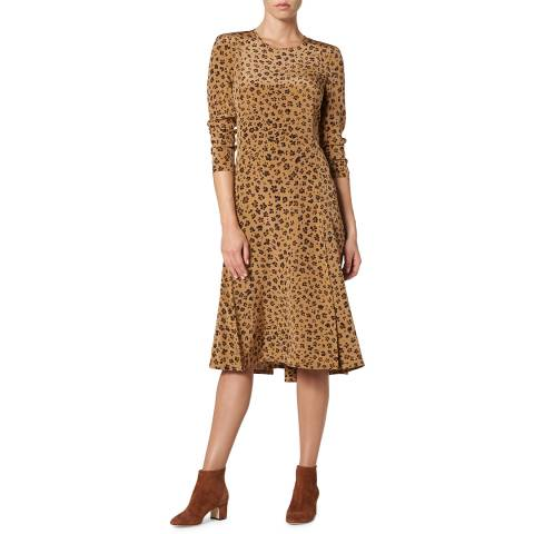 L K Bennett Brown Printed Silk Leanie Dress