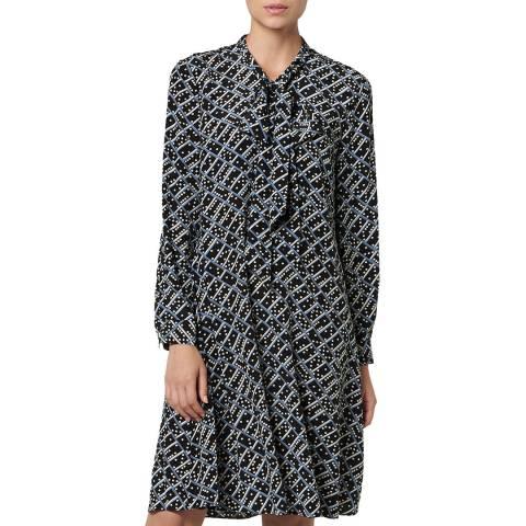 L K Bennett Black Printed Silk Lotte Dress
