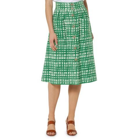 L K Bennett Green Buttoned Through Annelin Skirt