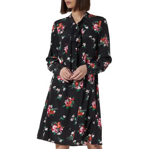 L K Bennett Black Floral Silk Lotte Dress