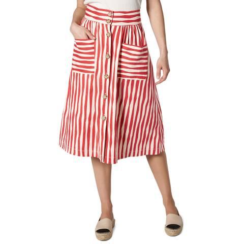 L K Bennett Red Buttoned Through Annelin Skirt
