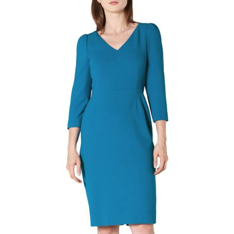 L K Bennett Blue Fitted V Neck Mai Dress
