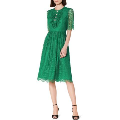 L K Bennett Green Ruffled Mallory Midi Dress