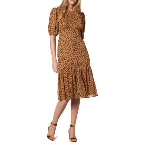 L K Bennett Brown Printed Silk Alexa Midi Dress
