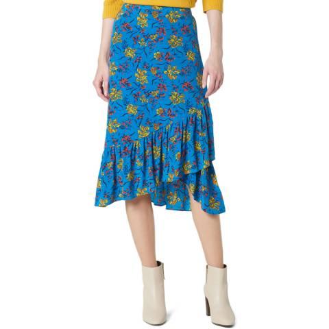 L K Bennett Blue Flowy Silk Florentine Skirt