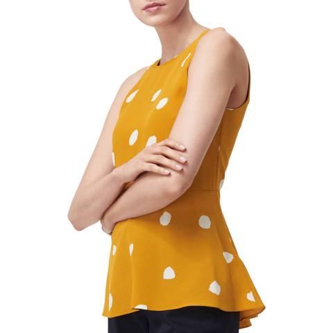 L K Bennett Yellow Polka Silk Ella Top