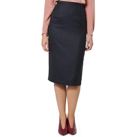 L K Bennett Navy Smart Wool Hattie Skirt