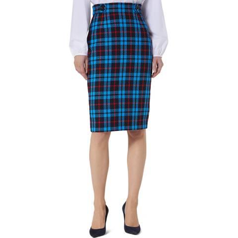 L K Bennett Blue Fitted Miroe Skirt