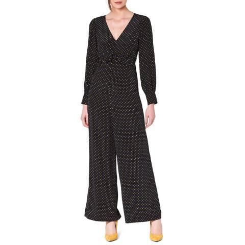 L K Bennett Black Spotted Silk Valerie Jumpsuit