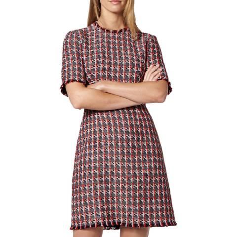 L K Bennett Red Tweed Danna Mini Dress
