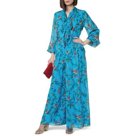 L K Bennett Blue Floral Silk Wylie Jumpsuit