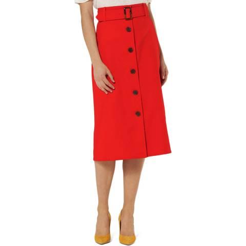 L K Bennett Red Belted Midi Oda Skirt