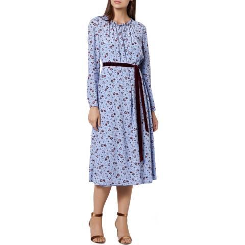 L K Bennett Baby Blue Silk Blend Yadi Dress