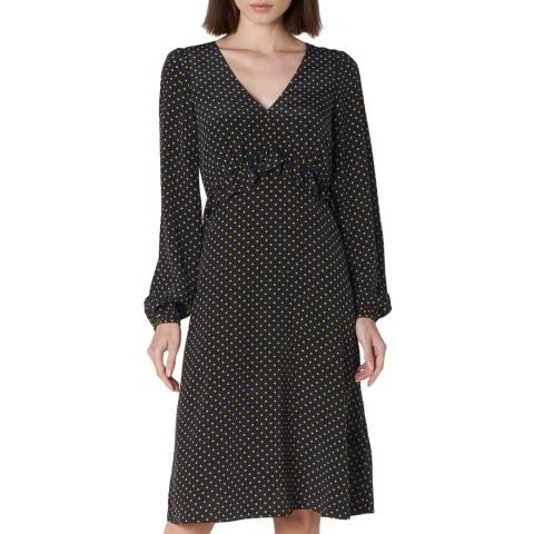 L K Bennett Black Polka Silk Zadie Dress