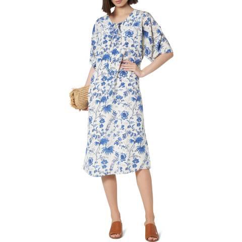 L K Bennett Blue Floral Silk Estella Dress