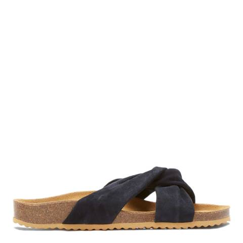 Mint Velvet Navy Bella Twist Suede Sliders
