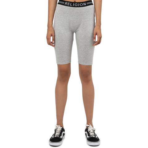 Religion Grey Fitted Cycling Shorts