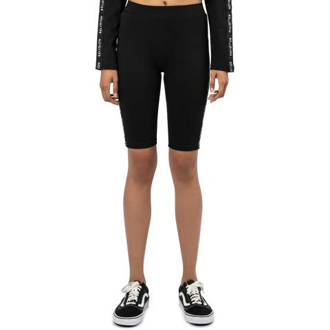 Religion Black Fitted Cycling Shorts