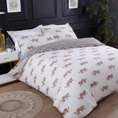 Sleepdown Leopard Motif Double Duvet Cover Set, Cream