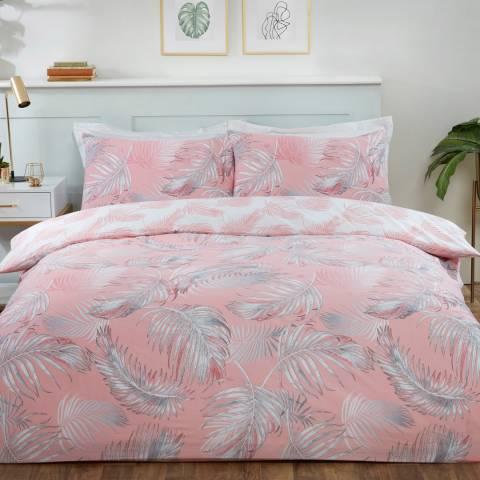 Sleepdown Palm Print Single Duvet Cover Set, Coral