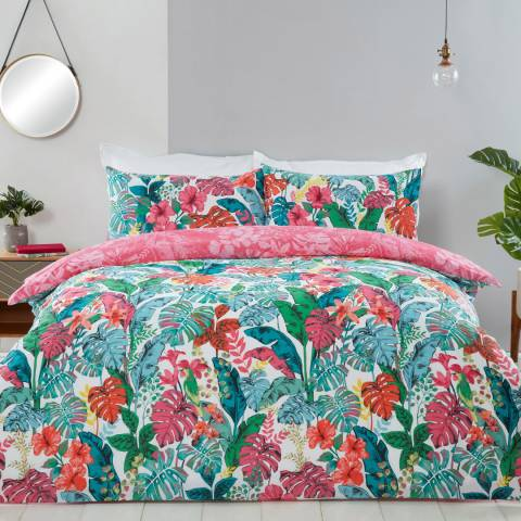 Sleepdown Tropical Jungle Leaf King Duvet Cover Set