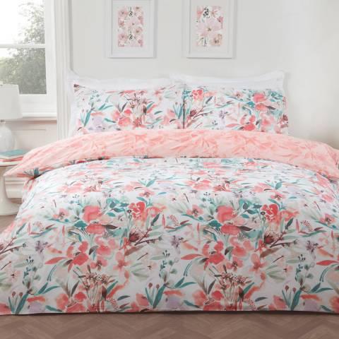 Sleepdown Watercolour Floral King Duvet Cover Set, Coral