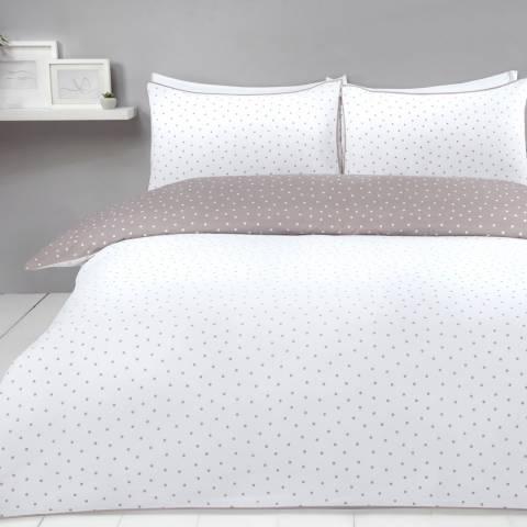 Sleepdown Mini Polka Dots Double Duvet Cover Set, Mink