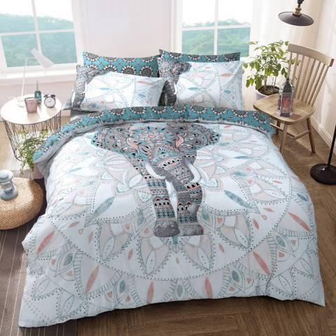Sleepdown Elephant Mandala King Duvet Cover Set, Green