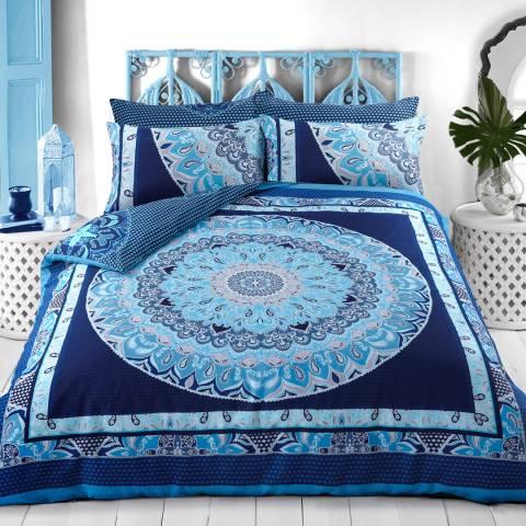 Sleepdown Paisley Mandala Double Duvet Cover Set, Blue