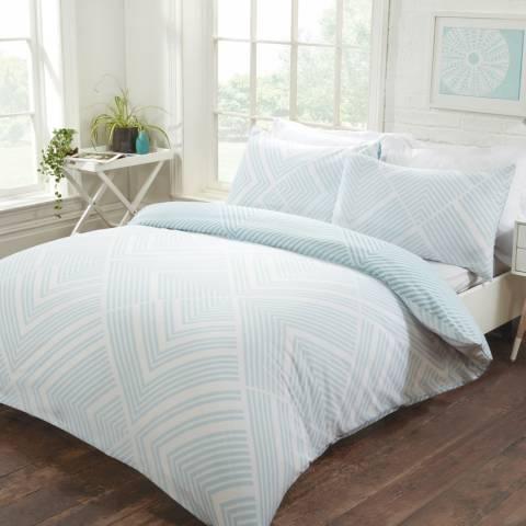 Sleepdown Striped Geometric King Duvet Cover Set, Duck Egg
