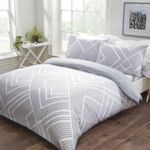 Sleepdown Striped Geometric Double Duvet Cover Set, Grey