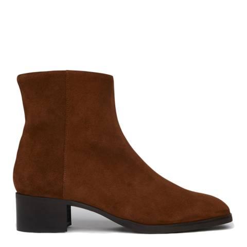 L K Bennett Brown Tobacco Split Suede Ameli Ankle Boots