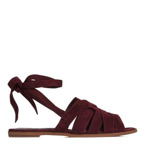 L K Bennett Red Damson Suede Selma Flat Sandals