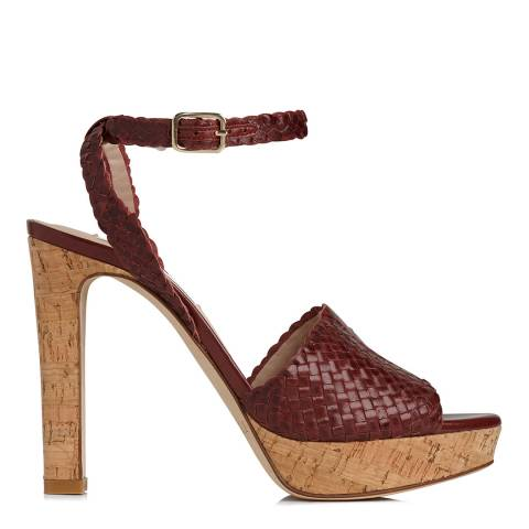 L K Bennett Red Damson Weave Margot Heeled Sandals